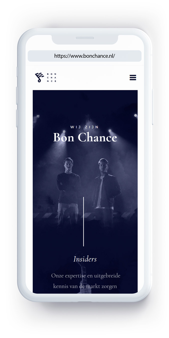 A mobile version of the website made for Bon Chance